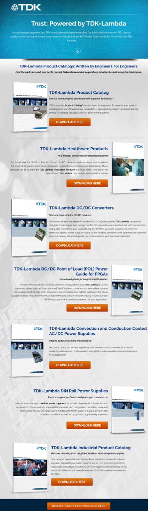 TDK landing page