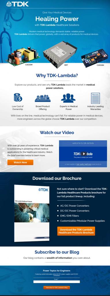 TDK medical landing page